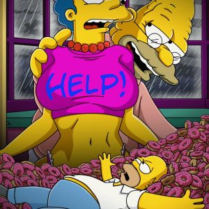 Vovô Simpson tarado espiando a Marge Simpson